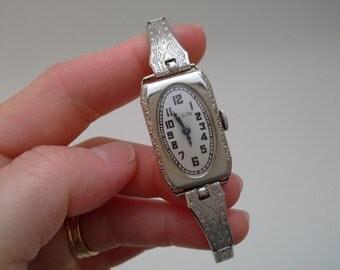 Vintage Ladies Elgin Watch, Working Elgin, Running Watch, White Gold Filled Watch, White Gold Watch, Art Deco Watch,Superior Watch Band