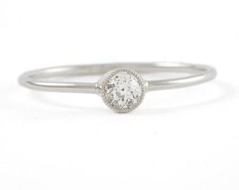 Converted antique diamond engagement ring | Edwardian | old European | Platinum | Handmade | Stack | upcycled