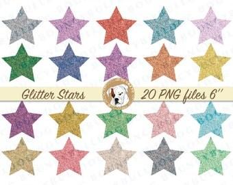 Glitter Star Clipart Digital stars Scrapbook Clipart Star Embellishments Scrapbooking Clipart glitter Star Clip Art Printable commercial use