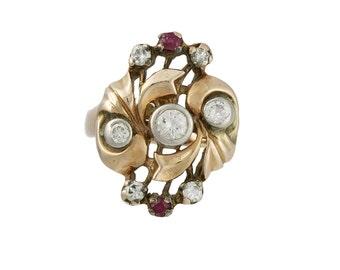 Retro 14K Rose Gold, Diamond & Ruby Ring, c. 1940s