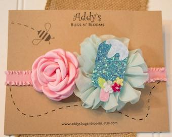Popsicle headband, Pink and Light Blue headband, Popsicle Feltie headband, Little girl pink and blue headband, Baby pink and blue headband
