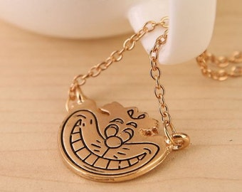 Cheshire Cat- Alice in Wonderland Necklace/ Pendant - Through the Looking Glass- Vintage