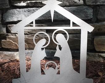 Christmas Nativity Yard Art including Baby Jesus, Mary & Joseph