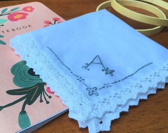 Hand Embroidered Handkerchief - Initial A