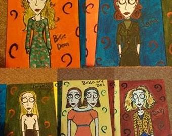 Tim Burton style Sarah Paulson AHS characters
