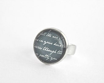 Text ring, adjustable silver tone ring