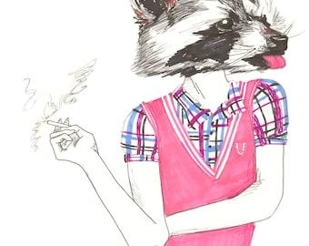 Smoking Racoon Girl Postcard