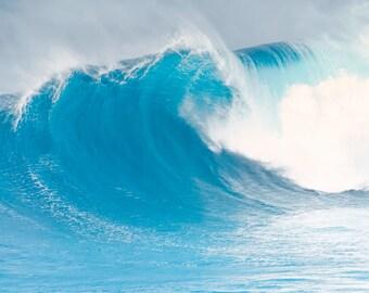 aqua teal heart wave photograph, beach decor, ocean waves surf wall art, living room pictures, turquoise bedroom prints, big barrel wave art