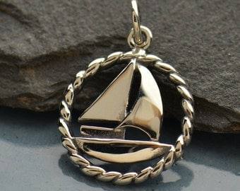 Sterling Silver, Sailboat Charm, Silver Sailboat, Boat Lover, Boating Charm, Boating Jewelry, Sailboat Jewelry, Sailing Charm, Silver Boat
