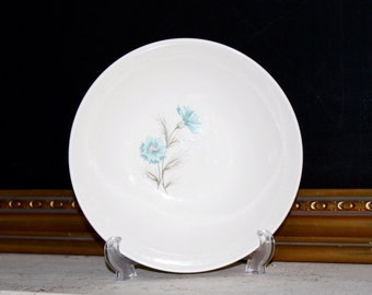 Serving Bowl, Taylor Smith Taylor, Boutonniere Ever Yours, Cottage Style, Aqua Flower Bowl, TST, Carnation Bowl, Shabby Chic Decor
