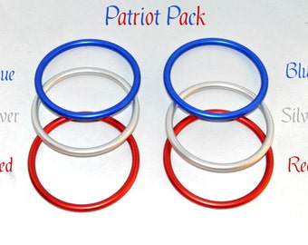 "6 Pack 3"" Aluminum Rings for Baby Ring Sling Carrier Wrap, Patriot Pack 2 each of Red White Blue DYI Crafting Rings AL-Ring-Blue-Silver-Red"