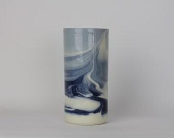 VASE. Indigo Marbled. Ceramic floral vase for home decor.