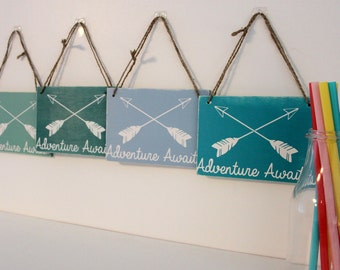 Adventure Awaits - Nursery Decor - Shabby Chic Home Decor - Rustic Hanging Sign - New Baby Gift - Christening Gift