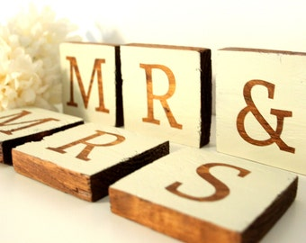 Wedding Decor - Mr And Mrs - Wooden Letters - Rustic Weddings - Bride and Groom - Reclaimed Wood Decor - Shabby Chic Decor