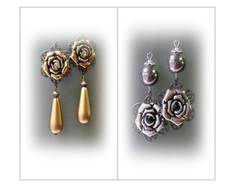 Rich rose Vintage Style long dangle earrings choose silver or gold and clip on or pierced fittings