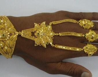 Vintage 20kt Gold Bracelet Slave Bracelet Hand Ornament Gold Rings