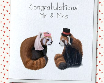 Mr and Mrs/Mr and Mr/Mrs and Mrs Red Panda Couple Wedding Card - Personalised, Custom, Gay, Lesbian, Congratulations, Just Married