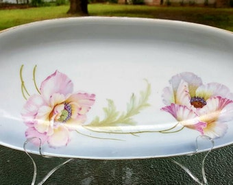 German porcelain serving dish, hand painted with pansies and gold edging