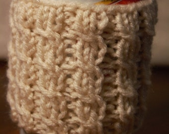Cabled can or coffee cozy