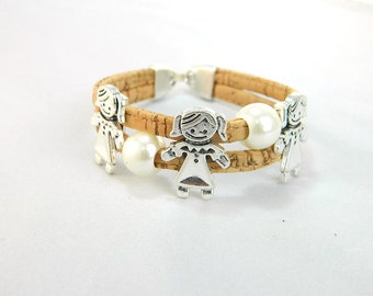 Portugal Cork bracelets,natural cork, three girl bracelet , handmade original bracelet Environment-friendly materials