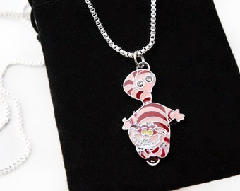 Sterling Silver Necklace, Alice In Wonderland Jewellery, Alice In Wonderland Necklace, Tim Burton Cheshire Cat ,Silver Necklace, Easter Gift