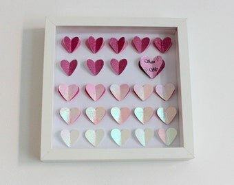 Personalised Wall Art. 3D Heart Wall Art. Personalised gift. Pink wall art. Ombre. 3D Paper hearts. Different shades of pink. Girly gift.