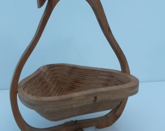 Wood Cut Collapsible  Pear  Fruit Or Bread Basket  Kitchen.