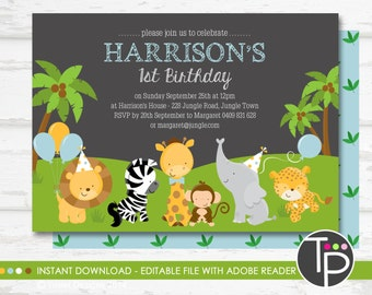JUNGLE ANIMAL Birthday Invitation, Instant Download Jungle Invitation, Jungle Animal Invitation, Jungle, Edit yourself with Adobe Reader