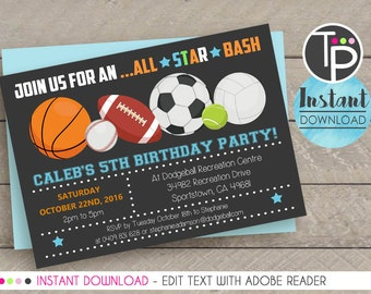 ALL STAR SPORTS Invitation, Instant download Invitation, Sport Party, Sport Party Invitation, Printable, Edit yourself with Adobe Reader