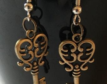 Heart Skeleton Key Earrings