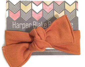 Organic Burnt Orange Knot Headband