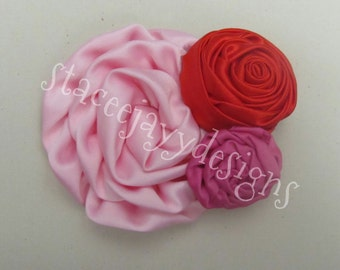 Pink and red trio headband set