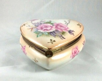 Rose Heart Shaped Jewelry Box- Vintage