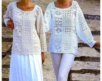 Vintage Crochet Pattern PDF to make A Ladies One Size Long Sleeve Lacy Sweater Tunic Top & Cardigan Jacket 86-91 cm A Digital Download