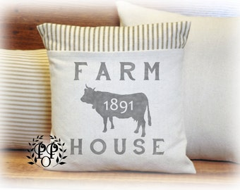 Farmhouse, Pillow Cover, Customize, Vintage Style, Country,Ticking