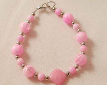 Pink Glass Bracelet - Pink Bracelet - Women's Pink Bracelet - Women's Pink Jewelry - Pink Jewelry - Single Strand Bracelet - Glass Bead