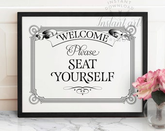 Funny bathroom wall art PRINTABLE,Please seat yourself sign,bathroom art,printable decor,funny wall art,restaurant decor,instant download