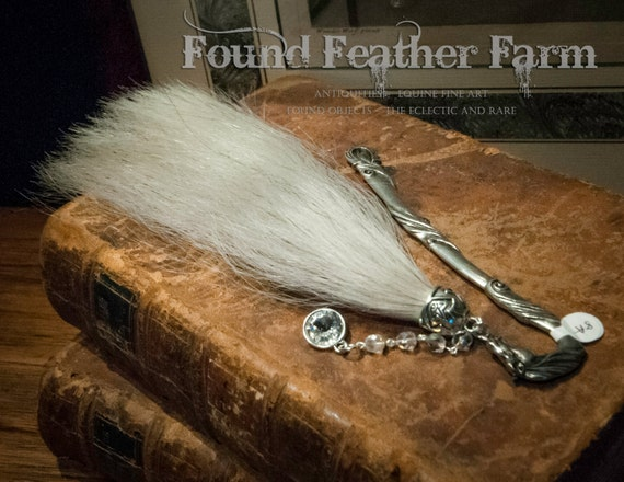 Heavy Pewter White Horsehair Bookmark with Crystal Charm