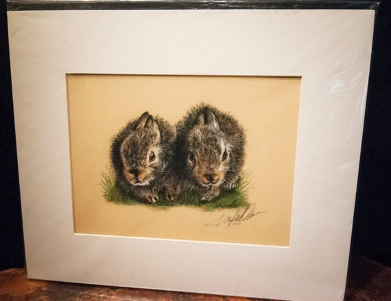 "Fine Art Giclee Print by Terry Kirkland Cook ""Two Bunnies"""