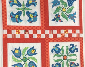"P & B Textiles Fabric  ""Elanors Picnic"" by Piece O Cake Designs- One Panel 24"" Cut.  One panel has 8 different flower motifs"