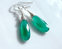 Emerald Onyx Large Drop Earrings Wired Wrapped in Sterling Silver