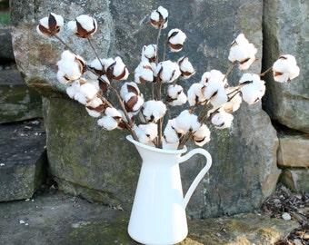 "Cotton Boll Stems, Set of 3-20"" Cotton Stems, Cotton Branches, Natural Cotton Bolls, Farmhouse Decor, Rustic Wedding Decor, 2nd Anniversary"