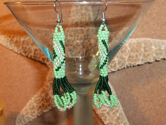 Vintage Bohemian Green Tribal Design Glass Hand Beaded Dangle Earrings