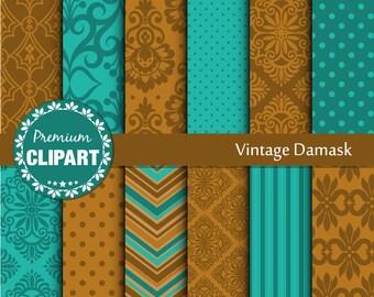 Old gold digital paper, Vintage damask paper, scrapbooking digital paper, wedding digital paper, damask - SE132