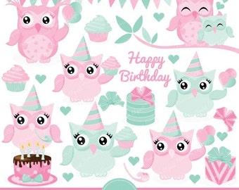 80% OFF SALE Pink owl clipart, owl clip art, birthday owl clipart, owl party clipart, birthday owls clipart, owl clipart - CA204