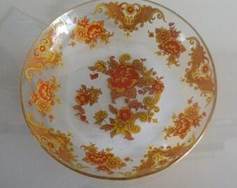 Vintage glassware  glass bowl orangle floral design fruit bowl. home decor , retro