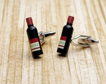 Red Wine Bottle Cufflinks Alcohol White Gift + Box & Cleaner