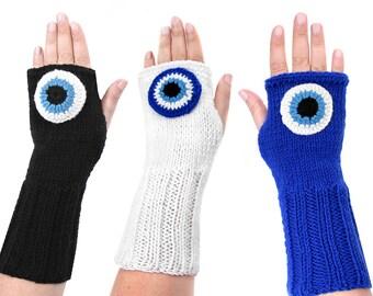 Fingerless Gloves Evil Eye Mittens - TXT009