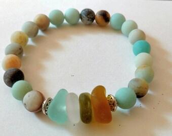 8 mm amazonite sea glass bracelet