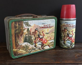Rare 1955 Davy Crockett Lunch Box and Thermos from Holtemp